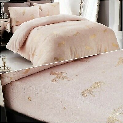 New Pink Gold Unicorn Star Foil Teddy, Pink And Gold Star Bedding