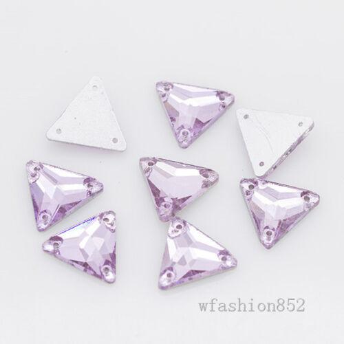 48p 12mm Glass Gem triangle foil flatback sew on crystal rhinestones varis color