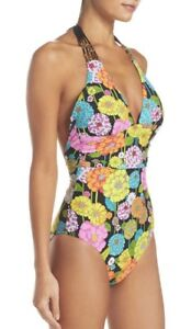 0375a2e892b25 New Trina Turk Santiago Halter Floral One-Piece Swimsuit Sz 12 NWT ...