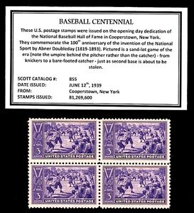 1939 - BASEBALL CENTENNIAL -  Block of Four Vintage U.S. Postage Stamps