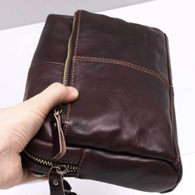 Genuine Leather Brown Men's Business Wallet Purse Small Handbag Wristlet 9922