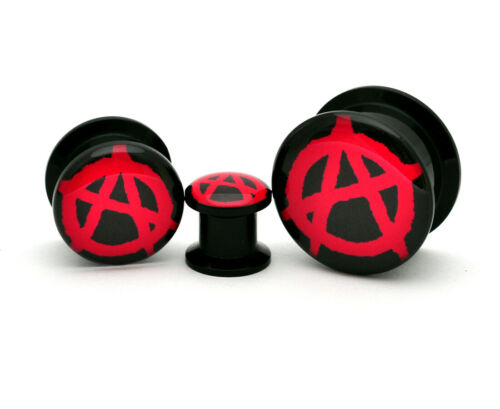 Pair of Black Acrylic Screw On Picture Plugs gauges Choose Your Design//Size