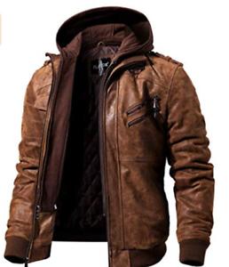 uomo pelle marrone cappuccio da staccabile in moto Giacca con vera wCEqAxO