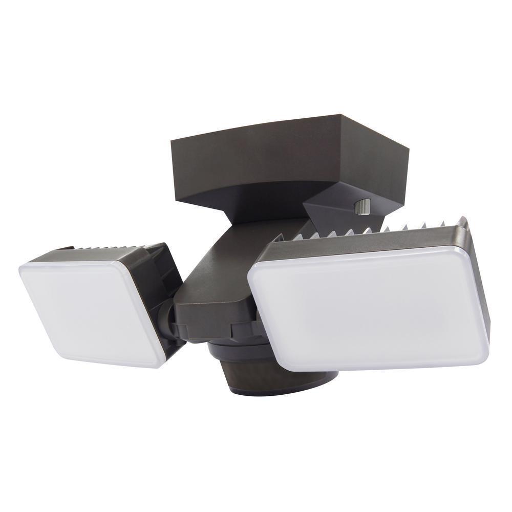 Cociente de inteligencia America 180 grado movimiento activada al aire libre de Bronce LED integrado Twin inundación