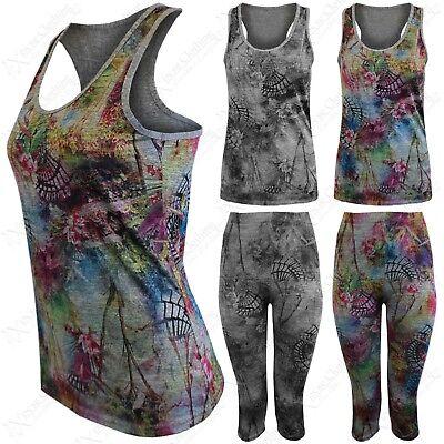 Diszipliniert Women Sportwear Multi Floral Print 2pc Suit Fitness Gym Vest Top 3/4 Capri Pants Grade Produkte Nach QualitäT