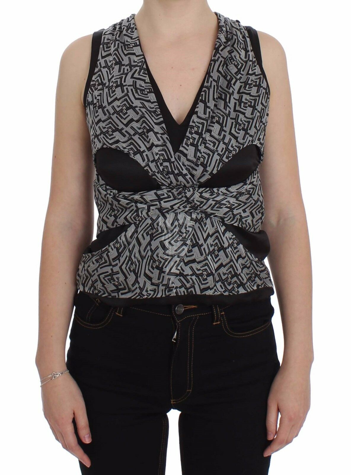 Nuovo Karl Lagerfeld Camicetta schwarz grau Top di Seta Spalla IT40 US6 S