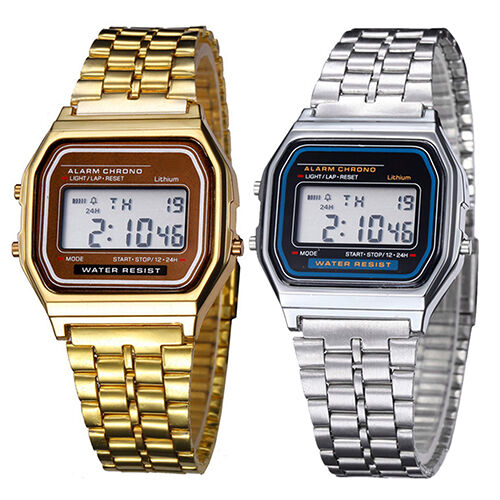 Smashing Men Women Chic Stainless Steel LCD Digital Sports Stopwatch Wrist Watch