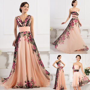 Plus-SIZE-Long-Short-Floral-Bridesmaid-Evening-Gowns-Wedding-Formal-Party-Dress