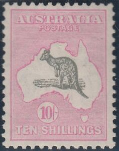 8054a80c22b Kangaroo stamp Australia 10/- grey/pink small multiple watermark MUH ...