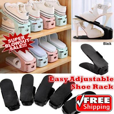 5//10Pack Easy Shoes Organizer Shoe Slots Space Saver Plastic Rack Storage Black
