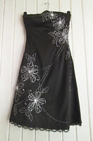 BNWOT - LADIES LOVELY BLACK SATIN EVENING PARTY DRESS - JANE NORMAN - SIZE 8