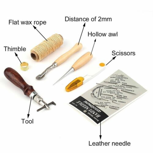 7pcs Leather Craft Cuciture A Mano Filo da Cucire Strumento Punteruolo per Cerato Ditale Kit S199