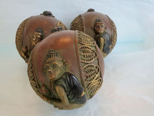 """Set of (3) Decorative WOOD MONKEY BALLS SPHERES ORBS for display in bowl 5"""" Size"""