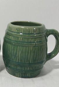 McCoy-Barrel-Coffee-Mug-1920-Studio-Pottery-Green-Glaze-Vintage