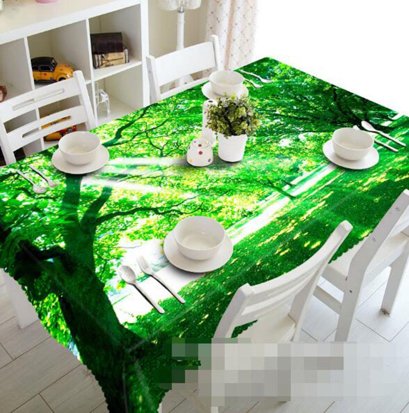 3D Sunny Tree 042 Tablecloth Table Cover Cloth Birthday Party Event AJ Lemon
