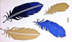Flash-Una-Volta-Tatuaggio-Temporaneo-Oro-Blu-4pezzi-Bracciale-Collana-Henna