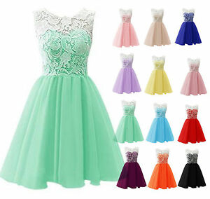 New Short Lace Bridesmaid Formal Gown Ball Party Evening Prom Dress