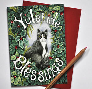 Six-Cat-Christmas-cards-solstice-black-and-white-animal-Yule-pagan