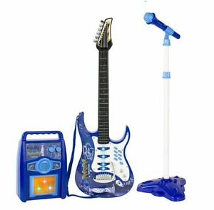portable karaoke machine kids electric guitar microphone amp mp3 player kit blue 349361382791 ebay. Black Bedroom Furniture Sets. Home Design Ideas