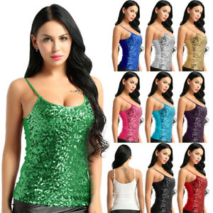 Fashion-Womens-Summer-Tank-Tops-Cami-Sequins-Sleeveless-Camisole-Vest-T-Shirts