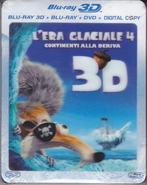 Blu ray 3D+2D + DVD L' Era Glacial 4-Continentes Alla Deriva Nuevo 2012