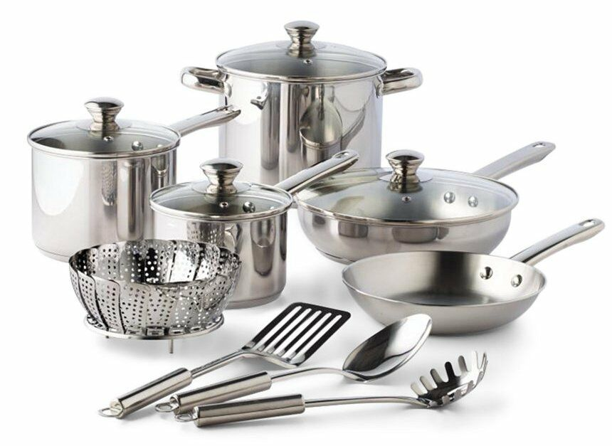 BRAND NEW Tools of the Trade Stainless Steel 13-Pc. Cookware Set in sealed Box
