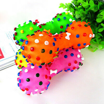 Lovely Pet Dog Puppy Cat Squeaky Squeaker Sound Chew Toy Colorful Chews Bone New