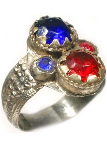 "18thC Crimean Tatars Silver Ring Ruby Red Sapphire Blue Glass ""Gemstones"" Sz 11"