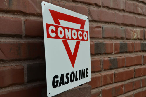 CONOCO Metal Gas Station Pump Sign Red Triangle Advertising Garage