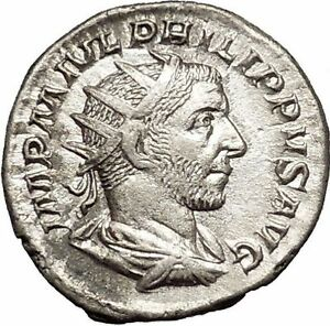 Philip-I-039-the-Arab-039-245AD-Rome-mint-Silver-Ancient-Roman-Coin-Security-i52140