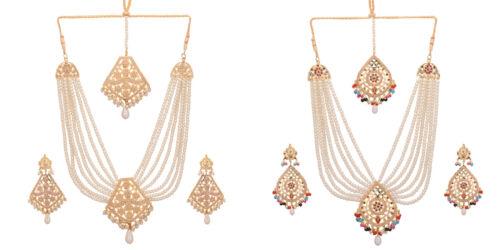 Jwellmart Indian Ethnic Bridal Gold Plated Jadau Multiline Pearl Necklace Set