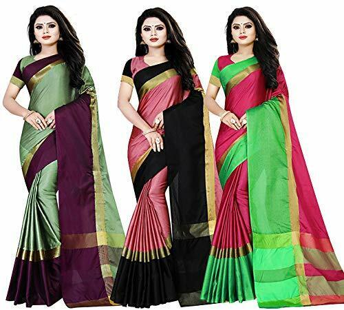 Women's Woven Cotton Silk Saree With Unstitched Blouse-Pack of 3 (Free Shipping