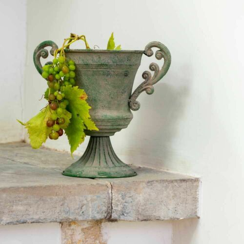 RUSTICO Francese in metallo Urna Vaso Fioriera Maniglie Verde Delilah shabby chic