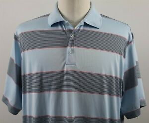 NEW-Nike-Ultra-Stripe-S-S-Dri-Fit-Polo-Shirt-MENS-LARGE-Blue-Polyester