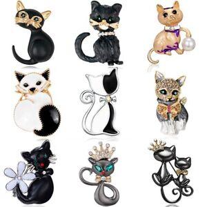 Cat-Animal-Crystal-Rhinestone-Pearl-Enamel-Brooch-Pin-Women-Costume-Jewelry-Gift