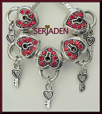 5 Red Orange Stone Heart Key Charms Fit European Jewelry 11 * 14 & 5mm Hole R028