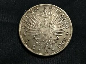 Lire-2-1902-Vittorio-Emanuele-III-Aquila-Sabauda-Regno-d-039-Italia