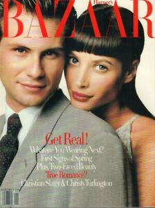 Harpers Bazaar January 1994 Christian Slater Christy Turlington 030619DBE