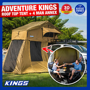 Kings-Roof-Top-Tent-With-4-Man-Annex-Rack-Camping-Car-Camper-Annex