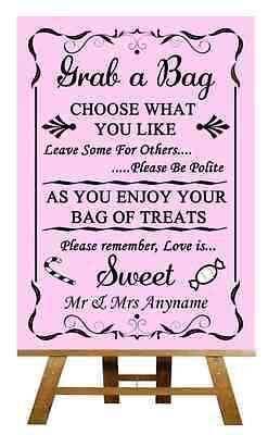 100% Kwaliteit Pink Candy Buffet Sweet Cart Poem Personalised Wedding Sign / Poster Om Een Ongewoon Uiterlijk Zeker Te Stellen