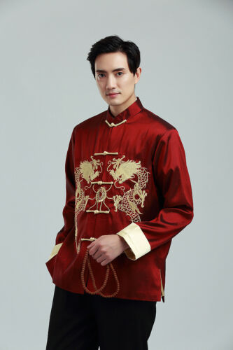 UK Stock Dark Red Chinese Kong Fu Double Dragon Embroidary Mens Jacket Fast Post