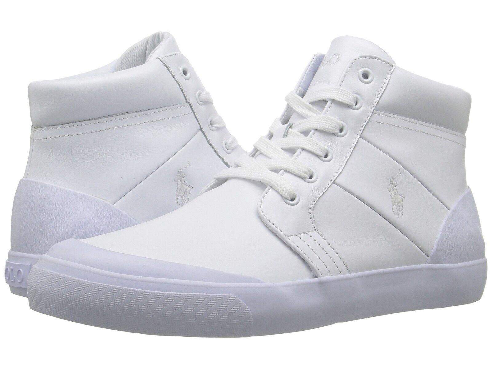 Polo Ralph Lauren Isaak Skid Vulc Hi Entrenador. Cuero blancoo, talla 8 o 9.5 Uk, Nuevo