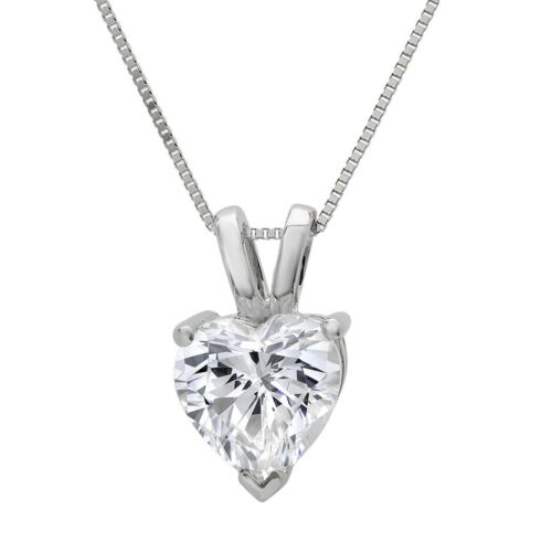 "2ct Heart Cut Solitaire Solid 14k White Gold Pendant Necklace 16/"" Chain"