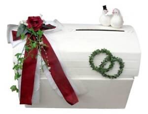Briefbox Geldgeschenke Hochzeit Creme Bordeaux Tauben Tischdeko Efeu
