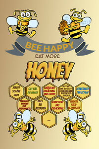 Bee Happy Honey Bee Tin Sign Shield Arched Metal 20 X 30 CM W1196