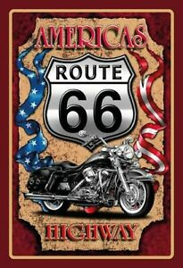 Americas-Route-66-Highway-Tin-Sign-Shield-Arched-7-7-8x11-13-16in-FA0591
