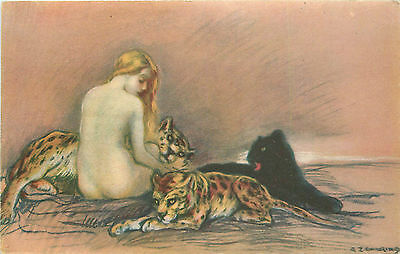 A. ZANDRINO A/S EROTIC NUDE WOMAN WPANTHER/JAGUARS #18-1 P/C