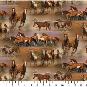 David-Textiles-Horses-in-the-field-Brown-Wild-Wings-Cotton-Fabric-by-the-yard