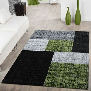 Teppich Wohnzimmer Modern Rechteckige Muster Grau Schwarz Grün | eBay