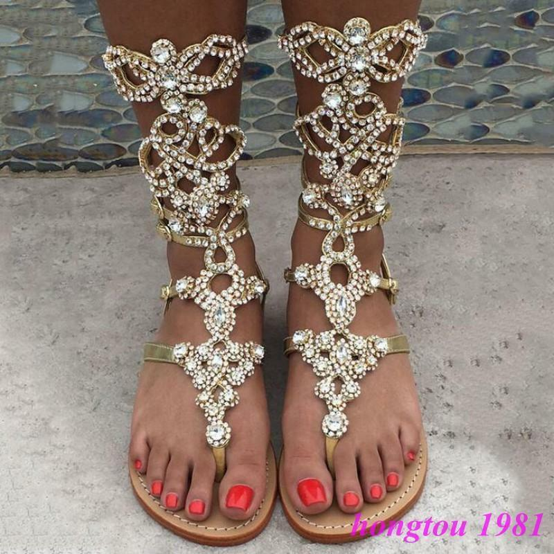 Roman Womens Rhinestone Gladiator Flat Flip Flops Beach Sandals Shoes US 4-12.5